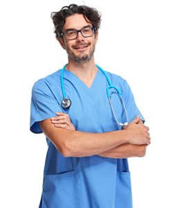 Young doctor nurse man in blue uniform isolated white background.